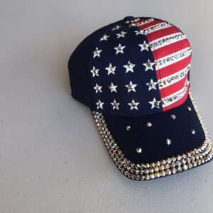 Woman's Patriotic Hat (Blue w/red & white stripes + bling)